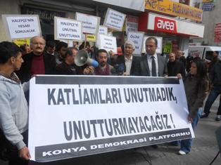 konyada katliamlar protesto edildi