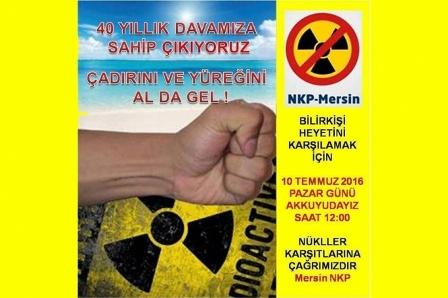 NKP Mersinden nükleere karşı eylem çağrısı