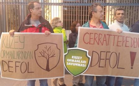 Taş ocağı kurmak isteyen Cengiz Holding önünde eylem