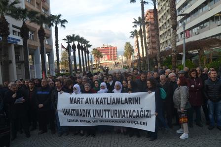 İzmir27de mart ayı katliamları protesto